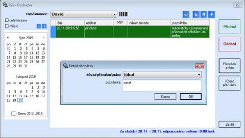 Docházka - editace záznamu